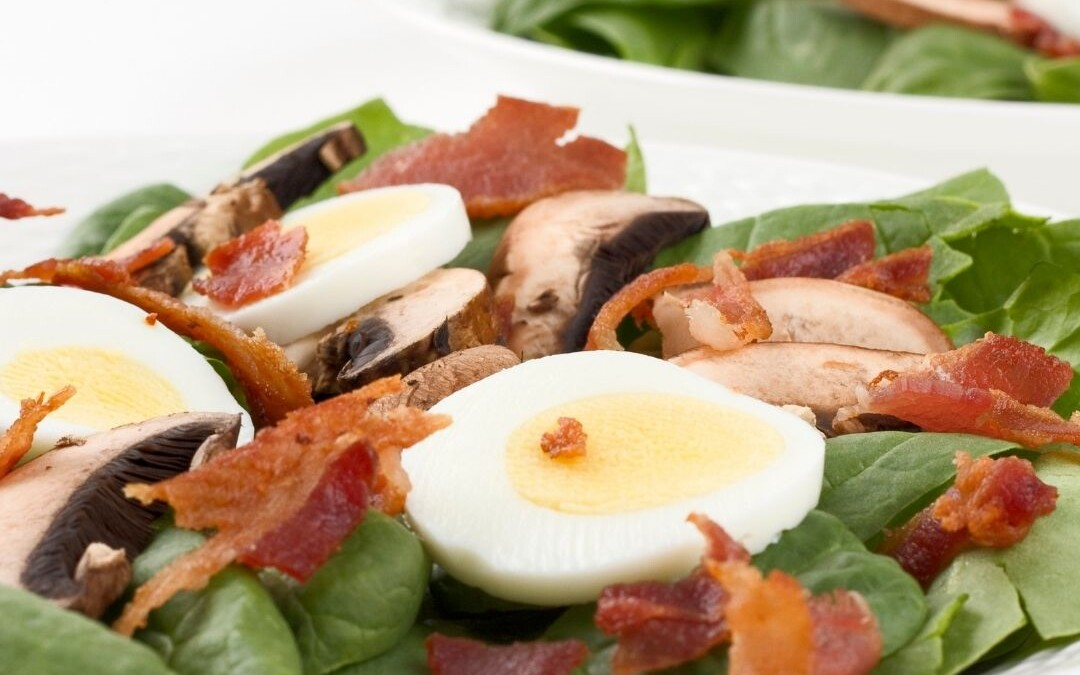 Spinach Salad w/ Hot Bacon Dressing